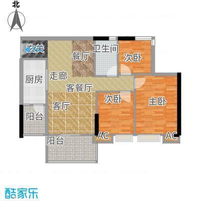 瑜翠园88.85㎡锦苑1座06单元3室面积8885m户型