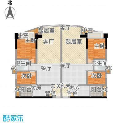金碧翡翠华庭73.80㎡2号楼DE户面积7380m户型