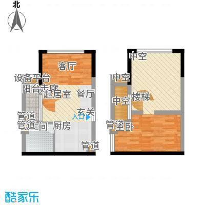 方圆月岛66.29㎡公寓06单元2室面积6629m户型
