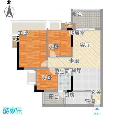 瑜翠园88.76㎡锦苑1座04单元3室面积8876m户型