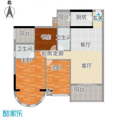 金碧翡翠华庭128.33㎡3号楼A单元面积12833m户型