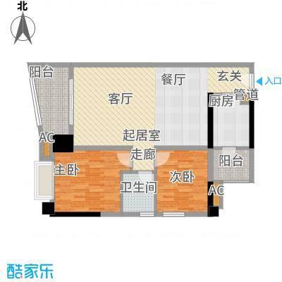 金碧翡翠华庭88.27㎡3号楼B单元面积8827m户型