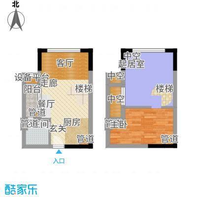 方圆月岛59.14㎡公寓09单元1室面积5914m户型