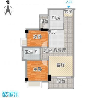 尚领时代78.66㎡B座02单元2室2面积7866m户型