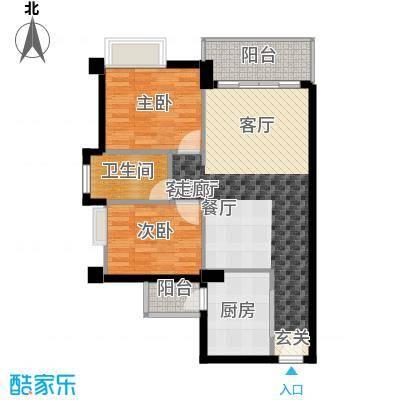 尚领时代75.62㎡D03单元2室面积7562m户型