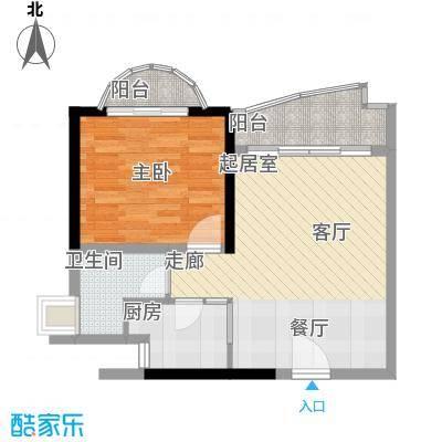 历德雅舍55.91㎡F栋D单元1室面积5591m户型