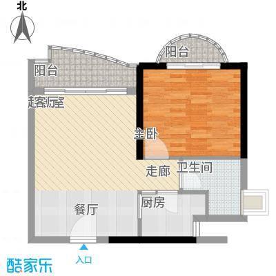历德雅舍55.91㎡F栋C单元1室面积5591m户型