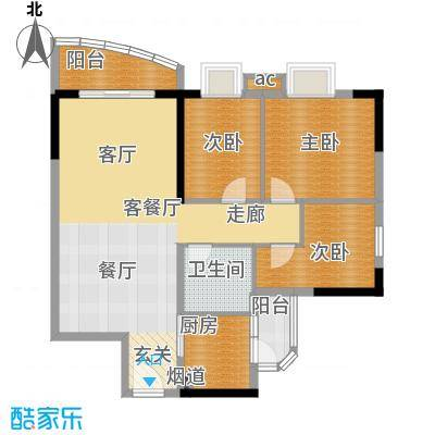 宏康东筑91.35㎡3面积9135m户型
