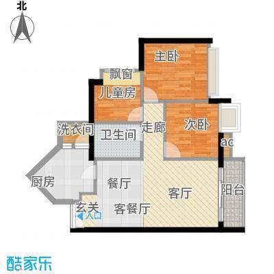 隽园68.08㎡B单元雅致空间3室2面积6808m户型