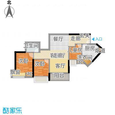 隽园74.37㎡D单元浪漫天地3室2面积7437m户型