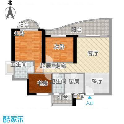 历德雅舍96.08㎡G栋D单元3室面积9608m户型