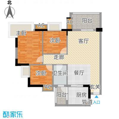 广州富力城87.90㎡C2栋5-15层04面积8790m户型