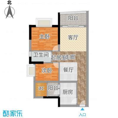 英豪花园70.11㎡A3栋03单元2室面积7011m户型