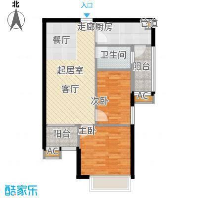 英豪花园72.90㎡A1栋06单元2室面积7290m户型