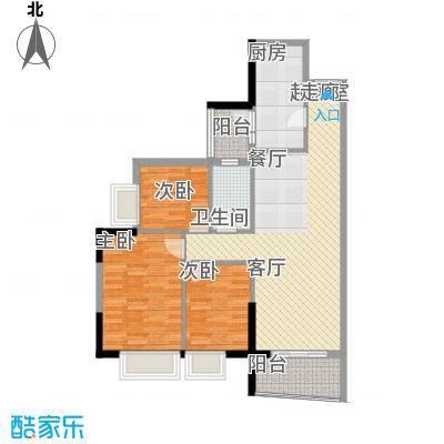 英豪花园89.04㎡A3栋10单元3室面积8904m户型