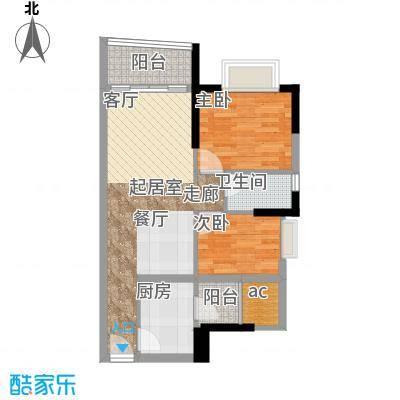 英豪花园70.11㎡A3栋04单元2室面积7011m户型