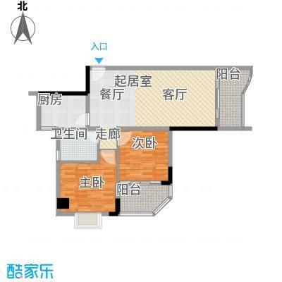 赛拉维83.41㎡C塔01单元2室面积8341m户型
