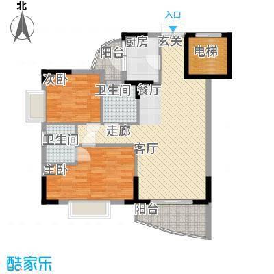 海龙湾88.07㎡锦云轩1梯3单位2面积8807m户型