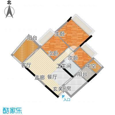 盈彩美居84.58㎡菁�轩1座B单位面积8458m户型