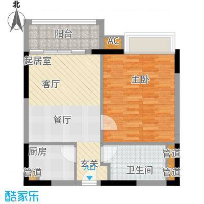 珠江太阳城广场68.33㎡裕富公寓面积6833m户型