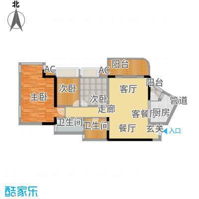 瀚林水岸107.57㎡A栋06单元3室2面积10757m户型