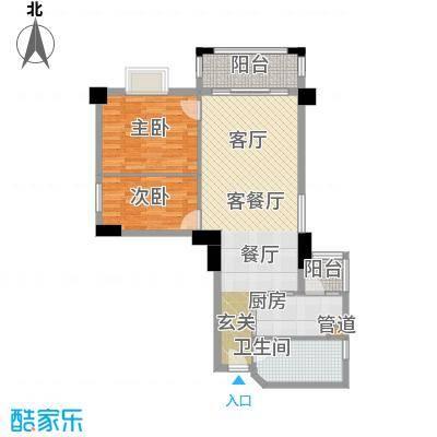 橡树园80.08㎡D2栋02单元2室面积8008m户型