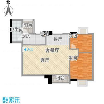 橡树园90.48㎡D1栋06单元2室面积9048m户型