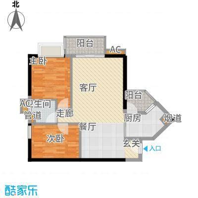 保利心语花园73.08㎡E栋03单位面积7308m户型