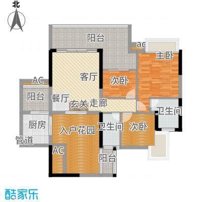 泊岸君庭114.67㎡6栋04单元3室户型