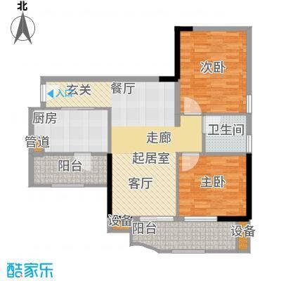 翠城花园87.45㎡22栋4层08单元户面积8745m户型