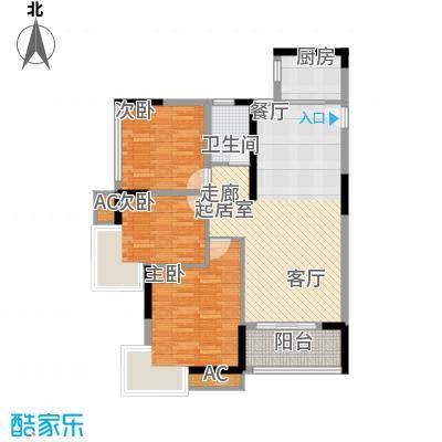 君源御湖城97.89㎡D104单元3室户型