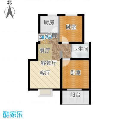 建大花园80.00㎡2居室2面积8000m户型