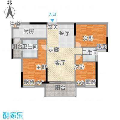 增城时代倾城108.00㎡1期1、8幢2面积10800m户型