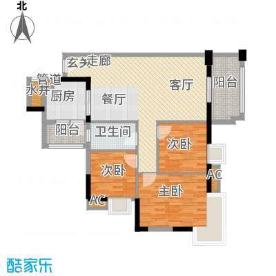 广州富力城91.69㎡F6栋05单位3面积9169m户型