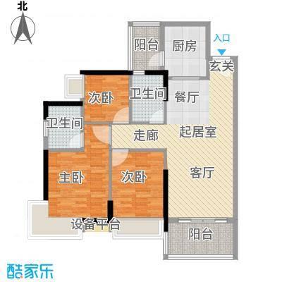 可逸豪苑96.87㎡6栋02单元3室2面积9687m户型
