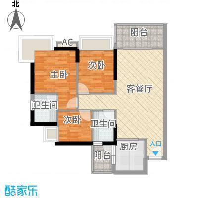 可逸豪苑97.44㎡7栋04单元3室2面积9744m户型