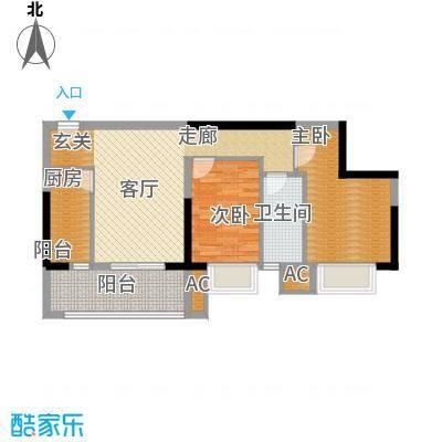 银汇华庭86.86㎡二期05单元2室面积8686m户型