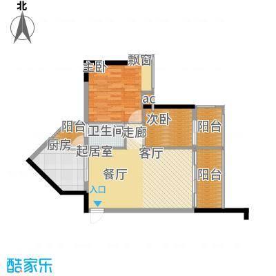 盛大蓝庭78.72㎡D栋01单元2室2面积7872m户型