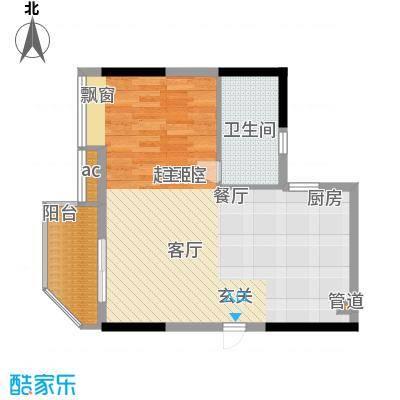 盛大蓝庭59.24㎡D栋05单元1室2面积5924m户型