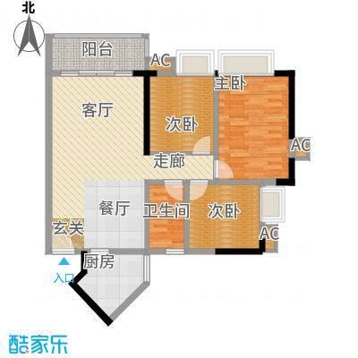金碧世纪花园88.96㎡20、21号楼面积8896m户型