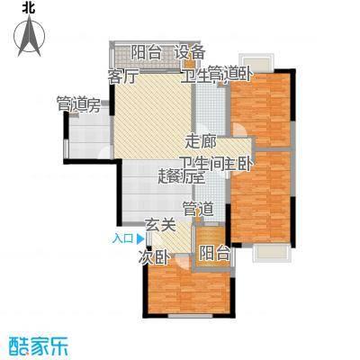 天马河公馆127.21㎡K-05单元3室户型