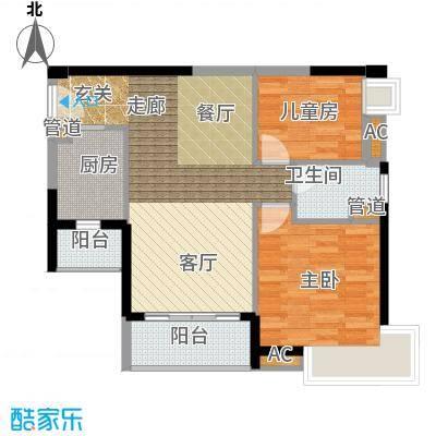 悦时代花园84.00㎡一期心悦湾AB座03单元2室户型
