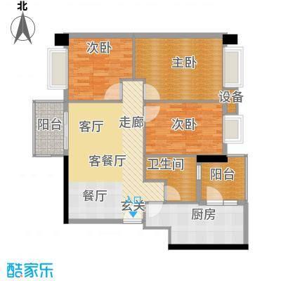 都市兰亭98.47㎡E1座04单元3室面积9847m户型