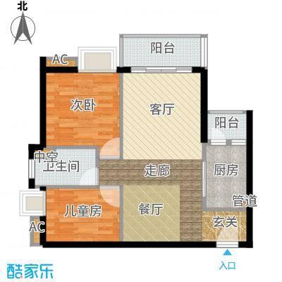 悦时代花园77.00㎡一期心悦湾AB座01单元2室户型