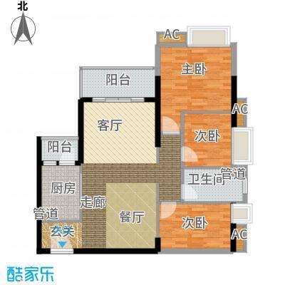 悦时代花园94.00㎡一期心悦湾AB座02单元3室户型