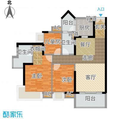 悦时代花园119.00㎡一期心悦湾A座04单元3室户型