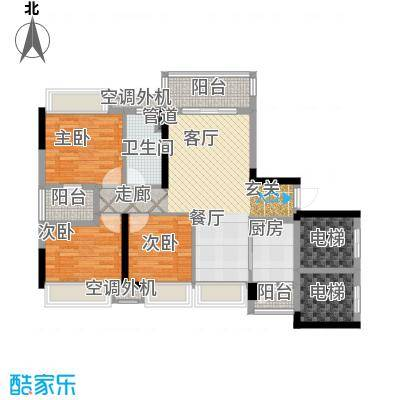 保利紫山国际95.00㎡3栋01单元3室户型