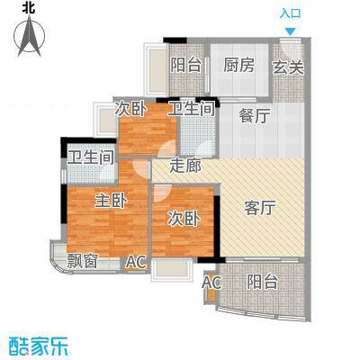 美林轩逸时光95.83㎡A5号楼2-13层02单元3室户型