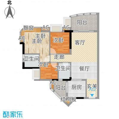 美林轩逸时光95.64㎡A7号楼2-13层04单元3室户型