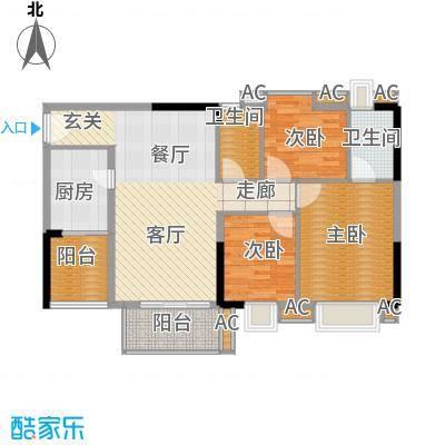 美林轩逸时光91.83㎡A5号楼2-13层06单元3室户型
